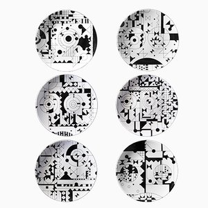 MOODS Silk Screen Printed Porcelain Plates by Kosta Neofitidis for KOTA Collections, Set of 6