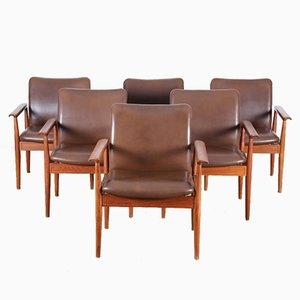 Skandinavische Mid-Century Diplomat Stühle von Finn Juhl für Cado, 6er Set