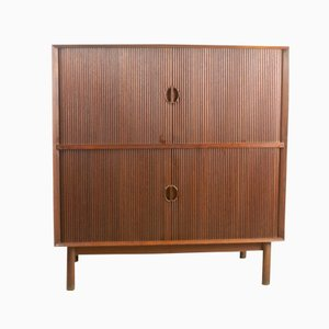 Teak Tambour Door Cabinet by Peter Hvidt for Soborg, 1960s