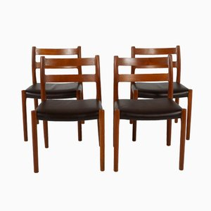 No. 84 Teak Dining Chairs by N.O Møller for Møller Møbler, Set of 4