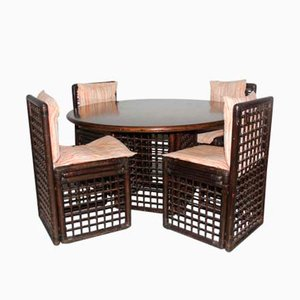 Rattan Dining Room Set by Tobia & Afra Scarpa for B&B Italia, 1970s, Set of 5