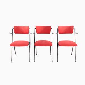 Rote Pyramid Stühle von Wim Rietveld für Ahrend de Cirkel, 1964, 3er Set