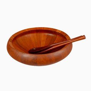 Vintage Teak Bowl and Salad Serving Spoons by Jens Quistgaard for Nissen