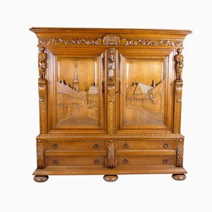 Large Oak Cabinet with Hand-Carved Doors from E. Bøgh, 1950s