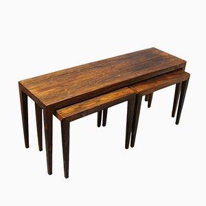 Tables Gigognes en Palissandre par Severin Hansen pour Haslev, 1960s, Set de 3
