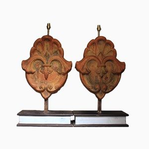 Antique French Terracotta Table Lamps, Set Of 2