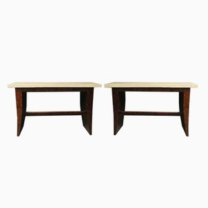 French Bubinga Wood Console Tables, 1930s, Set of 2