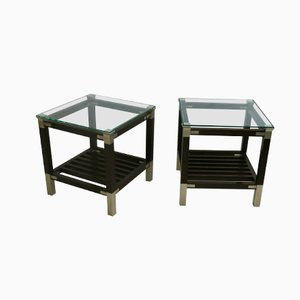 Side Tables with Glass Top by Pierre Vandel, Set of 2