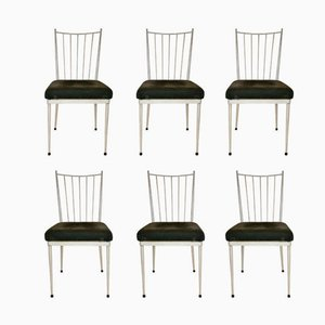 White Lacquered Dining Chairs, 1950s, Set of 6
