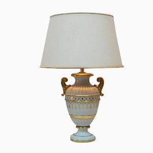 Italienische Porzellan Tischlampe mit Goldenen Details, 1970er