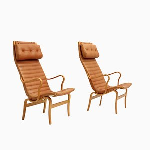 Eva High Back Chairs by Bruno Mathsson for Dux, 1970s, Set of 2