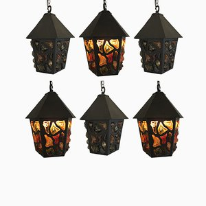 Brutalist Metal & Pressed Glass Lantern Pendants, 1970s, Set of 6
