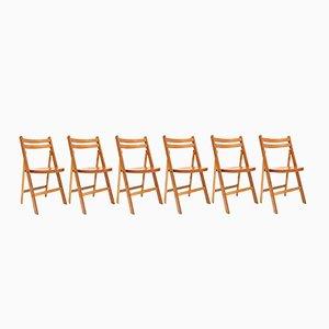 Chaises Pliantes Mid-Century en Hêtre, 1950s, Set de 10