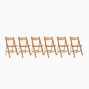 Mid-Century Beech Folding Chairs, 1950s, Set of 10