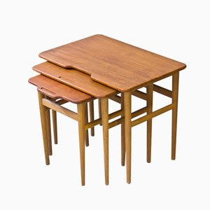 Vintage Danish Teak and Oak Nesting Tables by Kurt Østervig for Jason Møbler