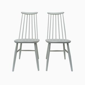 Spindle Back Dining Chairs, 1960s, Set of 2