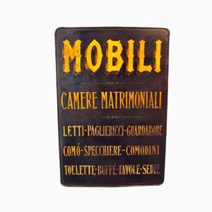 Italienisches Antikes Industrielles Möbelgeschäft Schild, 1895