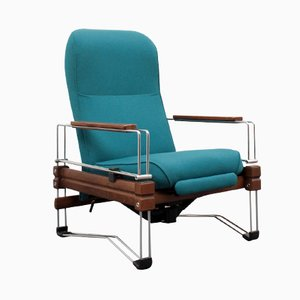 Vintage Wood and Chrome Frame Lounge Chair
