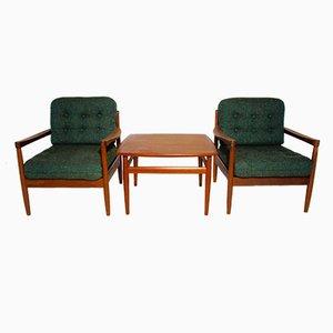 Dänische Lounge Sessel mit Couchtisch von Grete Jalk für France & Søn, 1950er, 3er Set