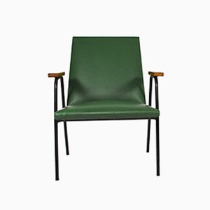 Green Leatherette Easy Chair by Pierre Guariche, 1950s