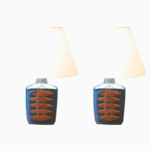 Large Blue Danish Table Lamps by Einar Johansen for Soholm, Set of 2