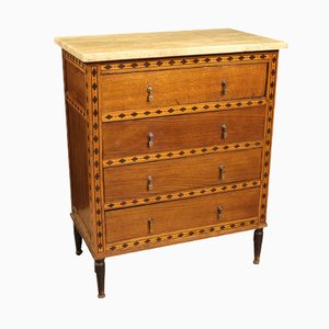 Antique French Inlaid Commode with Marble Top