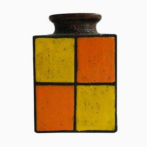 Vintage German Orange & Yellow Glazed Ceramic Vase