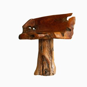 French Primitivist Natural Wood Chair, 1970s
