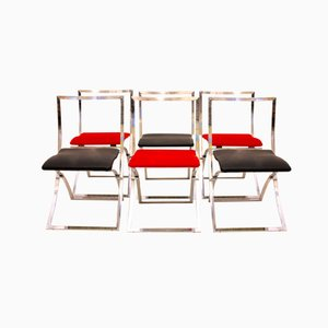 Red and Black Luisa Folding Chairs by Marcello Cuneo for Mobel, 1970s