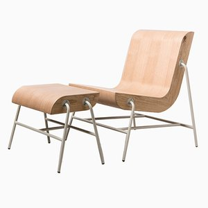 Metal Overlap Chair & Footstool by Nadav Caspi
