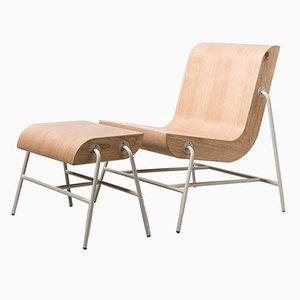 Overlap Stuhl und Fußhocker Metall Edition von Nadav Caspi