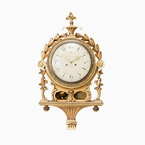 Antique Hand-Carved Gustavian Wall Clock