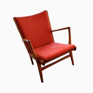 Red AP-15 Armchair by Hans J. Wegner for AP Stolen, 1950s