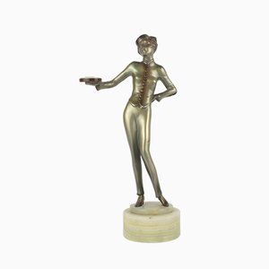 Viennese Art Deco Bronze Bellhop Figure by Lorenzl, 1930
