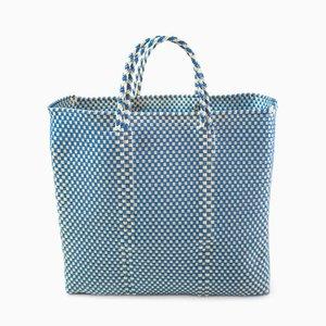 Oaxaca Plastic Woven Handbag in Blue