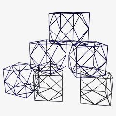 Decorative Aluminium Cubes, 1980s, Set of 6