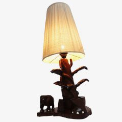 Hand-Carved Table Lamp with Cobra & Elephants from Ceylon, 1950s
