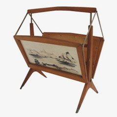 Italian Hand-Painted Birch and Brass Magazine Rack, 1950s