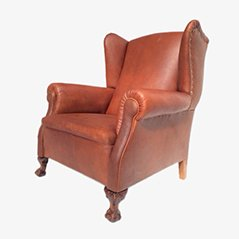 Neo-Gothic Leather Wingback Chair, 1930s