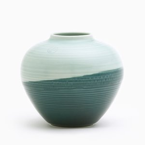 Round Vase in Green & Aqua by Asahiyaki