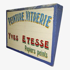 French Painted Wooden Sign