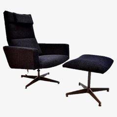 Mid Century Velvet Lounge Chair and Ottoman, 1960s