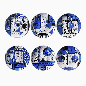 Blue Moods Porcelain Plates by Kostas Neofitidis for Kota, 2016, Set of 6