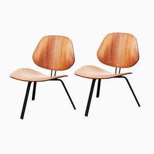 P31 Low Walnut Chairs by Osvaldo Borsani for Tecno, Set of 2