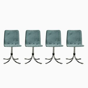 Velvet Dining Chairs from Brabantia, 1960s, Set of 4