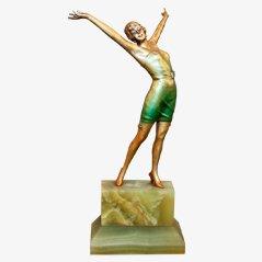 Statue Cabaret Art Déco en Bronze par Josef Lorenzl, 1930s