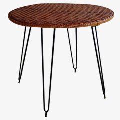 Mid-Century Italian Wicker table, 1950s
