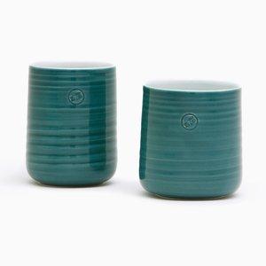 Set di due tazze da tè verdi petrolio di Asahiyaki