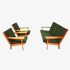 GE320 Sofa & Easy Chairs Set by Hans J. Wegner for Getama, 1950s