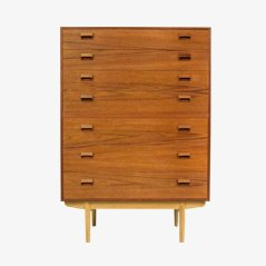 Teak High Dresser with Oak Base by Børge Mogensen for Søborg Møbler, 1951
